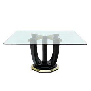 Large Square Glass-Top Black Lacquer Brass Base Dining or Conference Table For Sale
