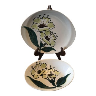 Southern Potteries Inc. Blue Ridge Hand Painted Evening Flower Serving Pieces - Set of 2 For Sale