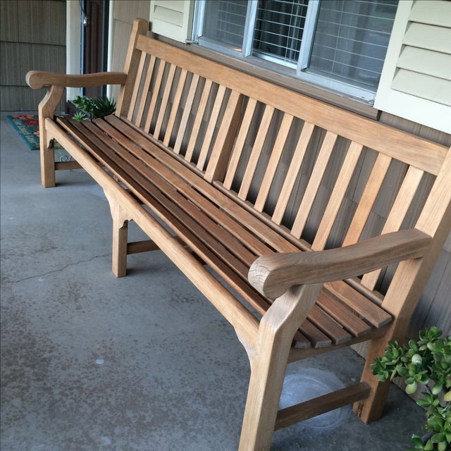 Brown Gloster 8' Teak Bench For Sale - Image 8 of 8