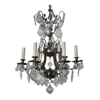 A French Silver Plated Bronze & Cut Glass Cage Chandelier