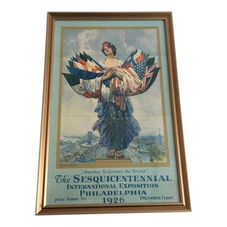 1920s America Welcomes the World Sesquicentennial Exhibition Poster For Sale