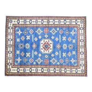 Hand-Knotted Denim Blue Kazak Geometric Design Rug- 10′9″ × 14′6″ For Sale