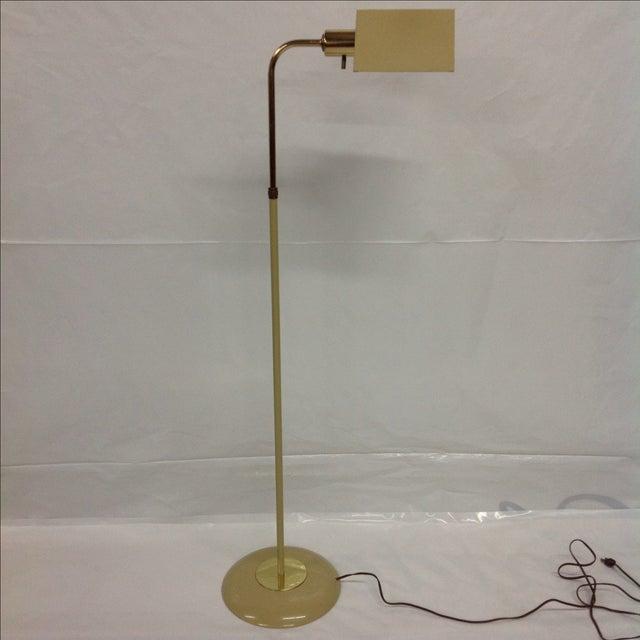 Mid-Century Modern Mid-Century Beige & Brass Floor Lamp For Sale - Image 3 of 4