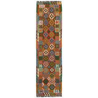 Afghan Kilim Handspun Wool Rug - 2′8″ × 9′9″ For Sale