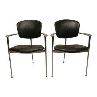 Modernist Andreu World Chrome & Leather Armchairs - A Pair