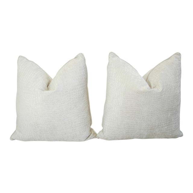Large Custom Tailored Boho Chic White Crocodile Velvet Feather/Down Pillows - Pair - Image 1 of 11