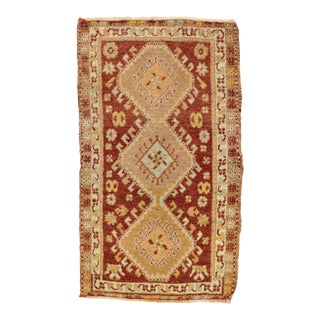 Vintage Turkish Oushak Yastik Scatter Rug - 01'08 X 02'10 For Sale
