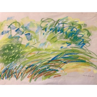 "1960s Pastel Drawing ""Pastel Landscape With Movement"" Nyc Artist"
