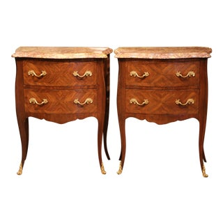 Early 20th Century Louis XV Bombe Commodes Nightstands With Marble Top - a Pair