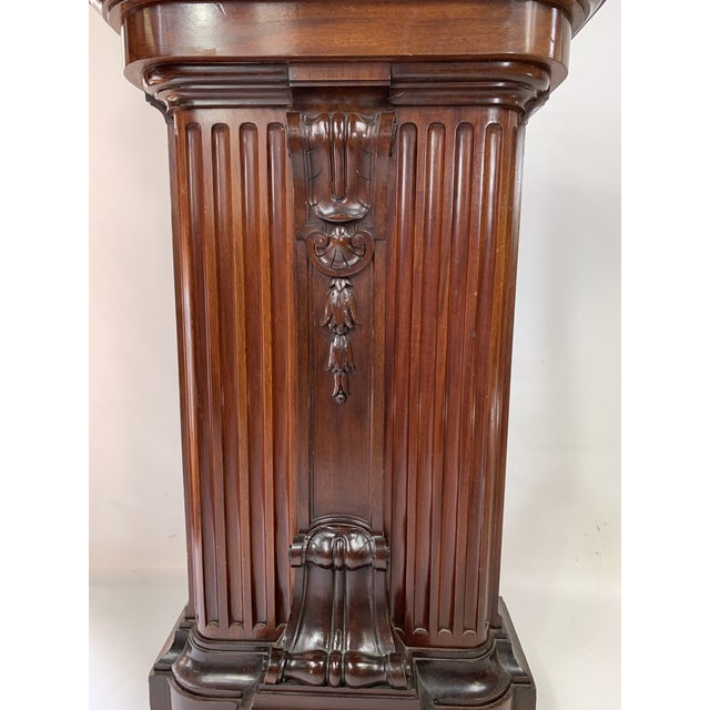 Brown 1870s Victorian Carved Mahogany Pedestal For Sale - Image 8 of 13