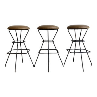 Iron & Leather Bar Stools - Set of 3 For Sale