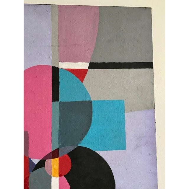 Abstract 1970s Vintage Acrylic Geometric Painting For Sale - Image 3 of 6