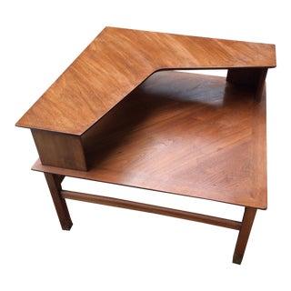 mid century walnut tiered corner side table - Corner Side Tables