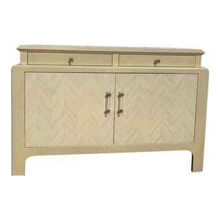 Harrison Van-Horn Parchment Raffia Covered Sideboard Cabinet For Sale