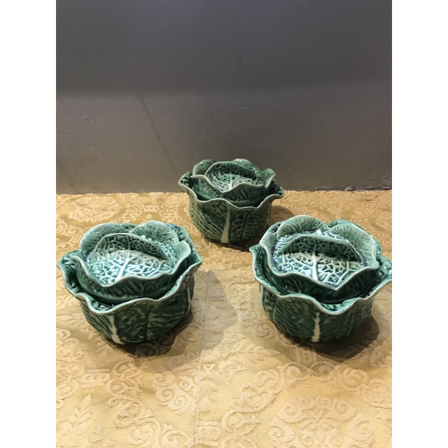 Vintage Secla Majolica Green Cabbage Covered Soup Bowls - Set of 3 For Sale In Miami - Image 6 of 12