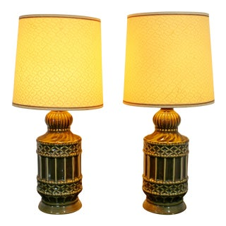 Mid Century Modern Small Pair of Ceramic Table Lamps 1960s Green Original Shades For Sale
