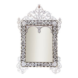 White Mother of Pearl Inlaid Mirror For Sale