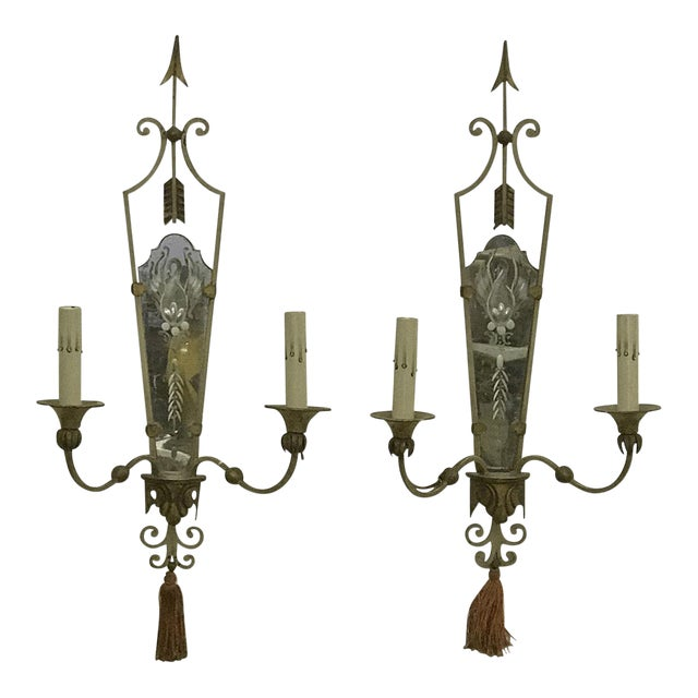 Antique Italian Mirrored Sconces - a Pair - Image 1 of 5