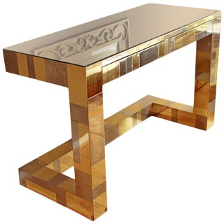 1970s Mid-Century Modern Paul Evans Brass Chrome Rosewood Cityscape Desk Console For Sale