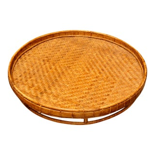 Boho Chic Huge Round Woven Tray For Sale