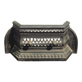 Antique French Country Black Cast Iron Fireplace Grill Grate For Sale