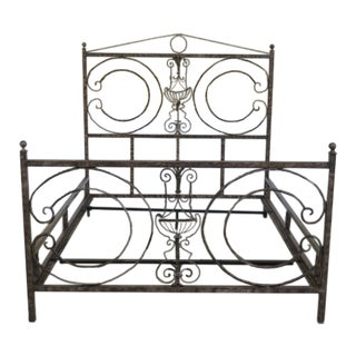 1990s Urn Motif Queen Size Iron Bed