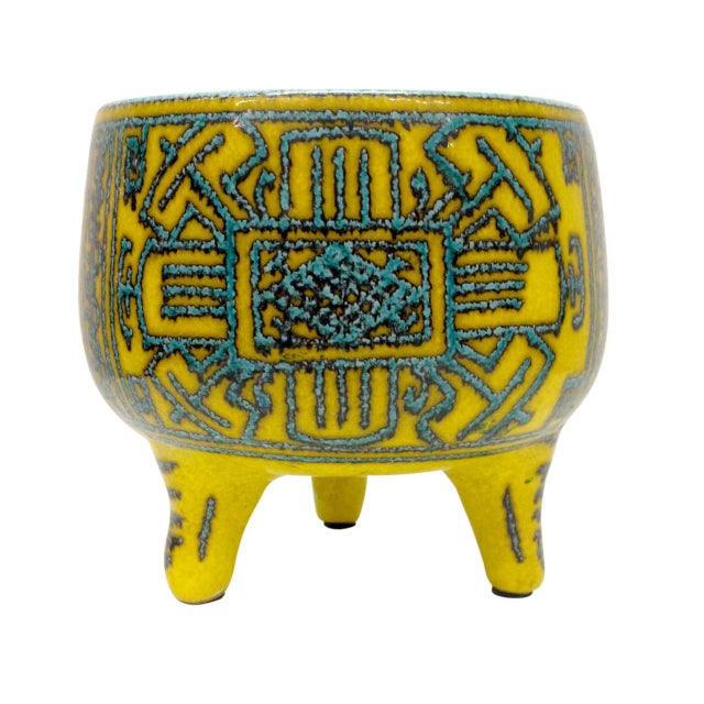 Inspired Precolombian Tripod Bowl: Made in Italy - Image 1 of 10