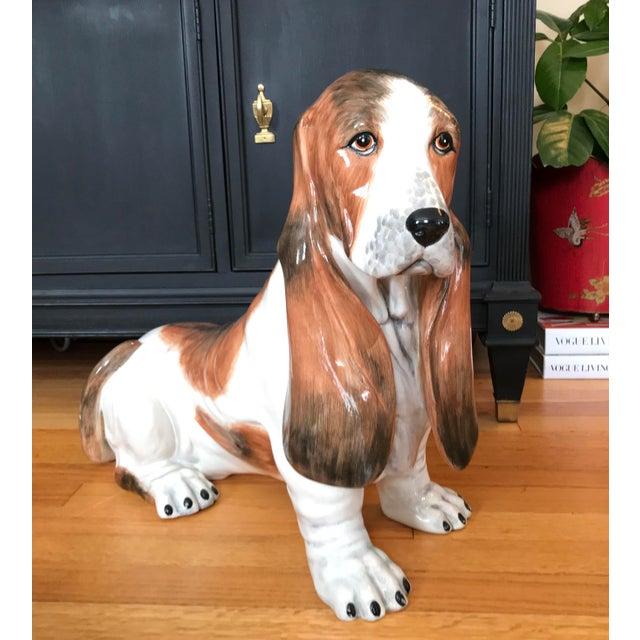 Vintage Italian Ceramic Life Size Bassett Hound Dog Sculpture For Sale - Image 4 of 9