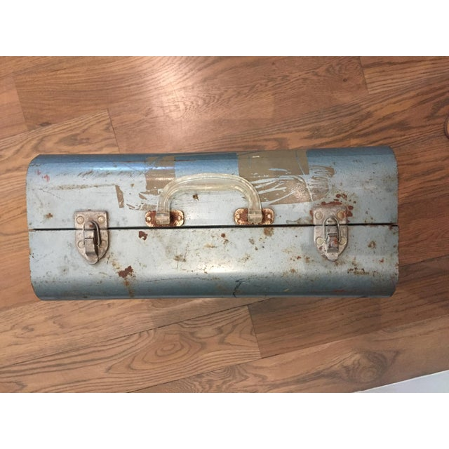 """Industrial Vintage Metal Picnic """"Suitcase"""" For Sale - Image 3 of 7"""