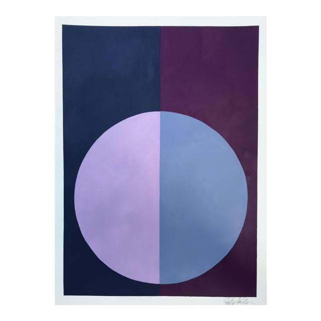 "Original ""Variation on a Circle: Violet and Indigo"" Painting - Image 1 of 5"
