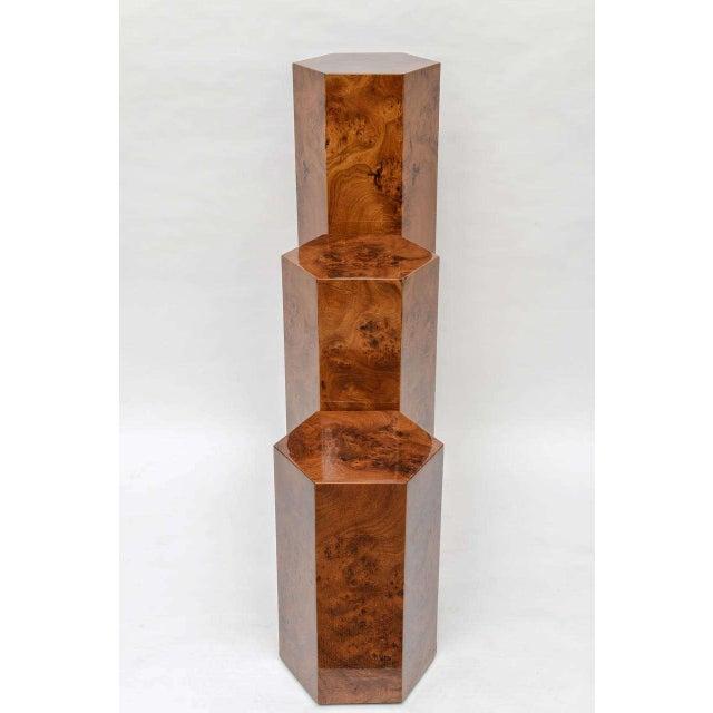 Art Deco Hexagonal Burl Wood Pedestals - Set of 3 For Sale - Image 3 of 10