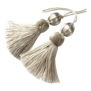 "Boho Chic Ivory Beaded Key Tassels - a Pair, 4.5"" For Sale"