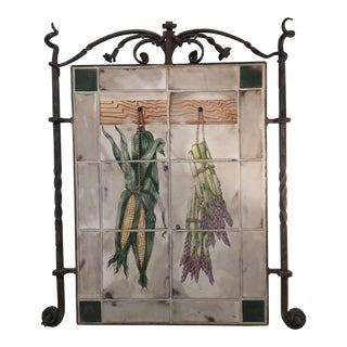 Wrought Iron Framed Antique French Tile