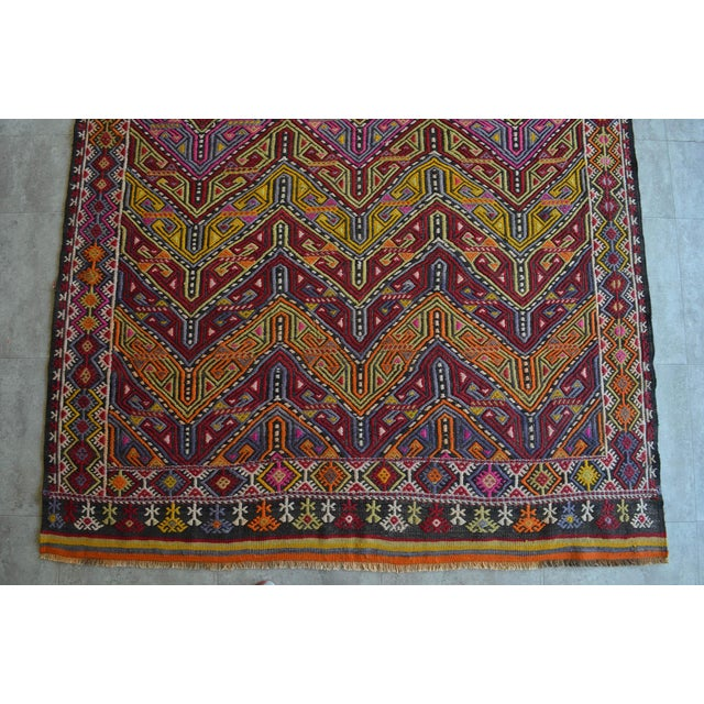 "Antique Turkish Kilim Rug Hand Woven Wool Jajim Braided Area Rug - 6'5"" X 9'10"" For Sale In Raleigh - Image 6 of 9"