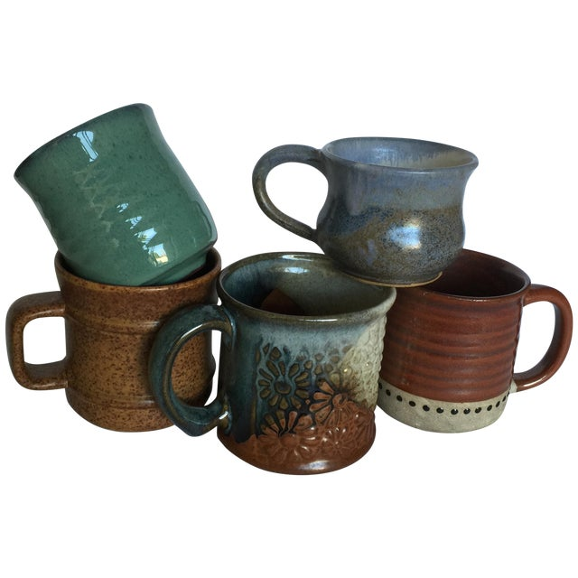 Vintage Pottery Mugs - Set of 5 - Image 1 of 11