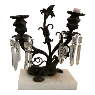 American Cast Iron and Marble Greyhound Candelabrum For Sale