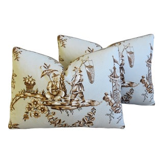 """Bailey & Griffin Chinoiserie Feather/Down Pillows 22"""" X 16"""" - Pair For Sale"""