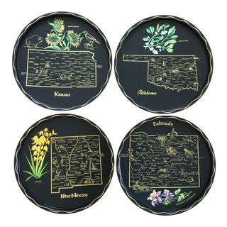 1960s Vintage Black Toleware Souvenir State Trays - Set of 4 For Sale