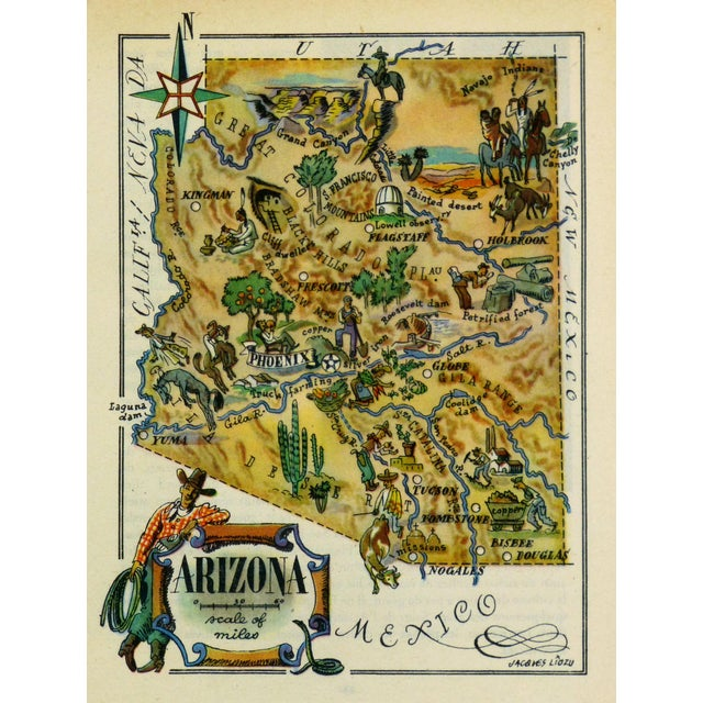 Vintage 1946 Arizona Pictorial Map For Sale