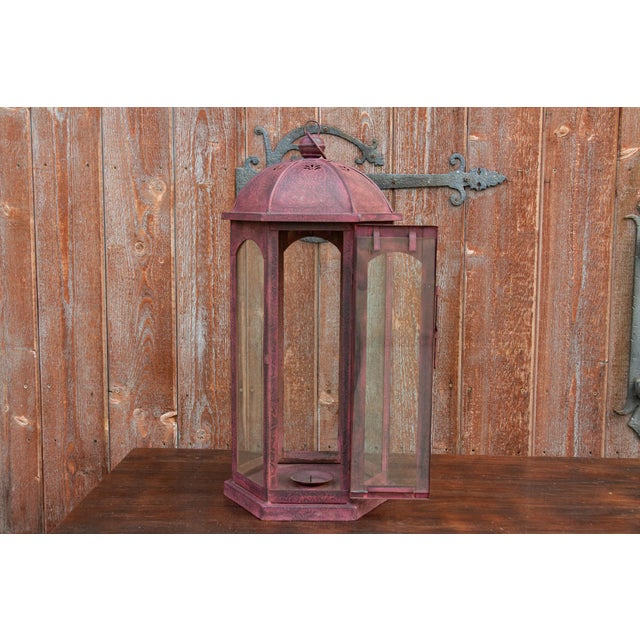 Ruby Acanthus Glass Lantern For Sale In Los Angeles - Image 6 of 8