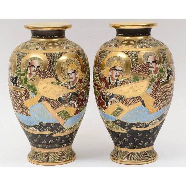 20th Century Satsuma Japanese Porcelain Vases - a Pair For Sale - Image 10 of 11