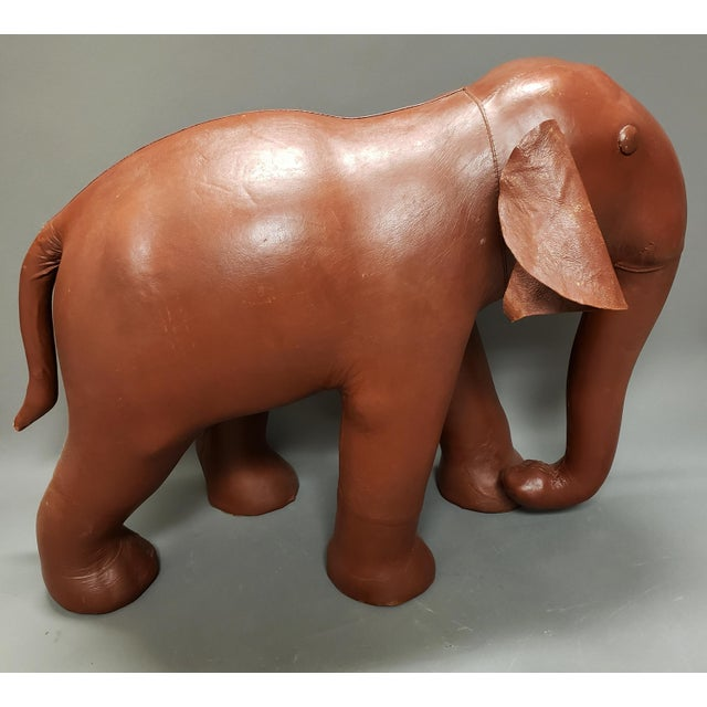 Figurative Very Large Mid Century Brown Leather Elephant Statue Ottoman For Sale - Image 3 of 7