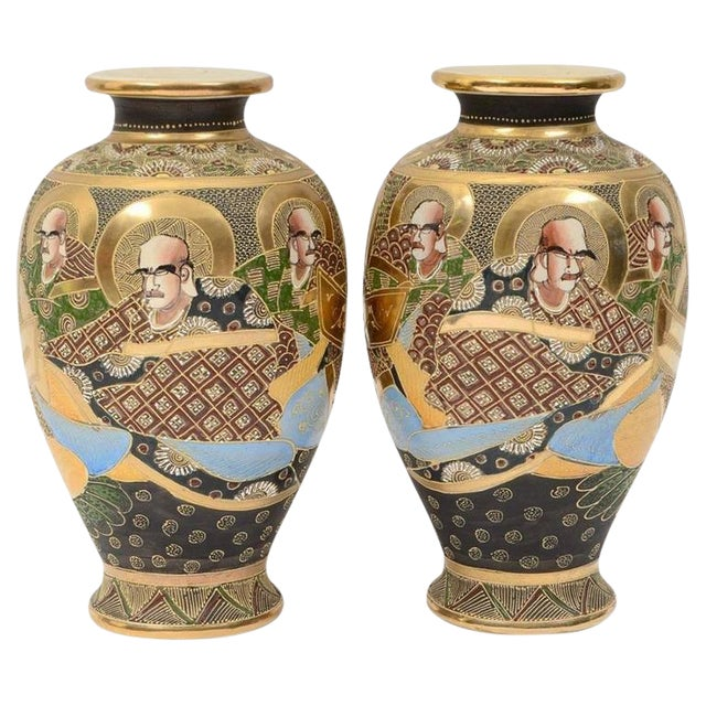 20th Century Satsuma Japanese Porcelain Vases - a Pair For Sale