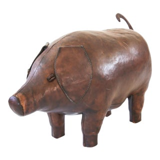 1980s Leather Pig Stool Made by Omersa & Company for Abercrombie & Fitch For Sale