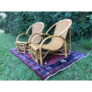 Vintage Rattan Chair With Retractable Ottoman - a Pair Preview