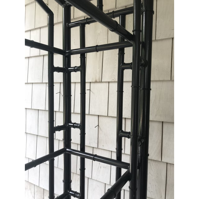 1950s Hollywood Regency Metal Pagoda Faux Bamboo Etagere For Sale - Image 4 of 5