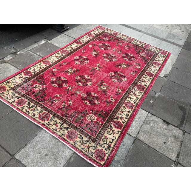Traditional 1960s Vintage Turkish Oushak Hand-Knotted Rug - 5′2″ × 8′2″ For Sale - Image 3 of 11