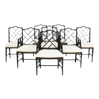Chinoiserie Ebonized Faux Bamboo Dining Chairs - Set of 6