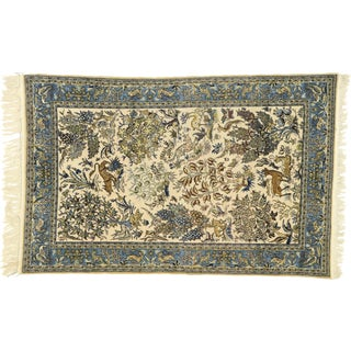 Vintage Persian Qum Rug With Botanical Hunting Scene - 04'06 X 07'00 For Sale