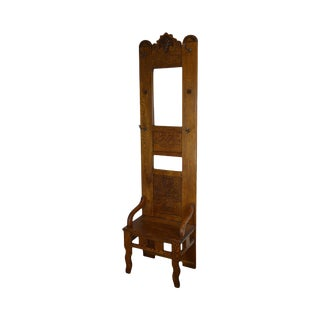 Antique Victorian Oak Narrow Hall Tree Seat With Mirror For Sale